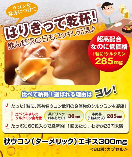 秋ウコン(ターメリック)エキス 300mg(1粒にクルクミン285mg含有)