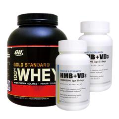 【超お得セット】100%ホエイ ゴールドスタンダード プロテイン約2.3kg ※ダブルリッチチョコ (1個)& HMB+VD3(2個)