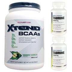 【超お得セット】[大容量約1.2kg]エクステンド(BCAA+Lグルタミン+シトルリン)※グリーンアップル(1個)&タウリン1000mg(2個)