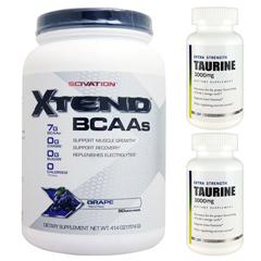 【超お得セット】[大容量約1.2kg]エクステンド(BCAA+Lグルタミン+シトルリン)※グレープ(1個)&タウリン1000mg(2個)
