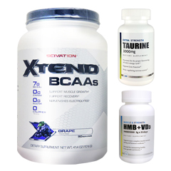 【超お得セット】[大容量約1.2kg]エクステンド(BCAA+Lグルタミン+シトルリン)※グレープ(1個)&HMB+VD3(1個)&タウリン1000mg(1個)