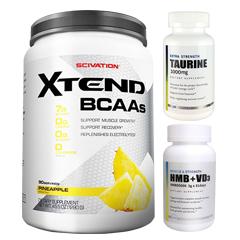 【超お得セット】[大容量約1.2kg]エクステンド(BCAA+Lグルタミン+シトルリン)※パイナップル(1個)&HMB+VD3(1個)&タウリン1000mg(1個)