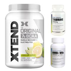 【超お得セット】[大容量約1.2kg]エクステンド(BCAA+Lグルタミン+シトルリン)※レモンライム(1個)&HMB+VD3(1個)&タウリン1000mg(1個)