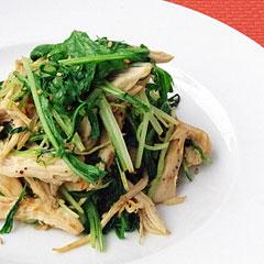 ☆水菜と蒸し鶏のあっさり炒め