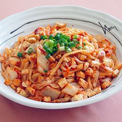☆厚揚げと豆腐とキムチの焼うどん