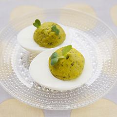 ☆ゆで卵のバジル風ファルシ