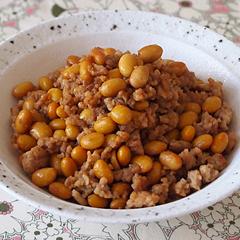 ☆鶏挽肉と大豆の甘辛炒め