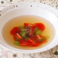 ☆プチトマトと枝豆の冷製コンソメスープ