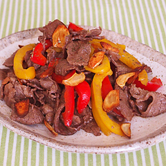 ☆牛肉とパプリカのガーリック炒め