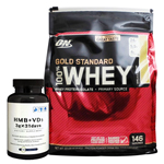 【超お得セット】100%ホエイ ゴールドスタンダード プロテイン約4.5kg ※バニラアイスクリーム (1個)& HMB+VD3(1個)