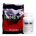 【超お得セット】100%ホエイ ゴールドスタンダード プロテイン約4.5kg ※ストロベリー (1個)& HMB+VD3(1個)