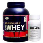 【超お得セット】100%ホエイ ゴールドスタンダード プロテイン約2.3kg ※ストロベリー (1個)& HMB+VD3(1個)