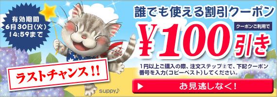 誰でも使える100円OFFクーポンは6/30(火)14:59まで!