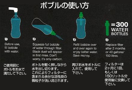 ボブル 550ml(浄水フィルターカートリッジ付きウォーターボトル)