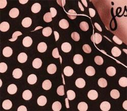 ジェシースティール ブラウン&ピンク ポルカドット パジャマセット