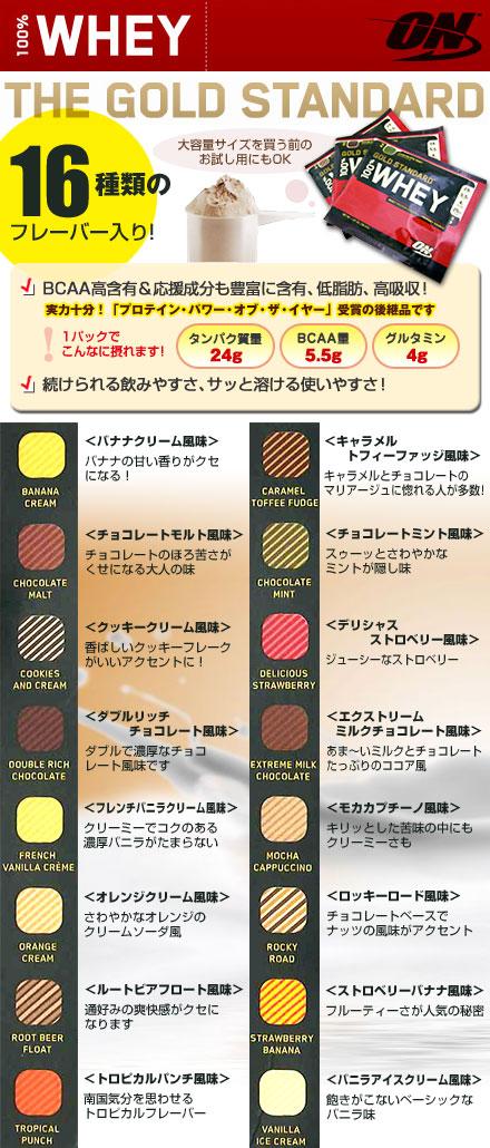 [16種類のバラエティパック] 100%ホエイ ゴールドスタンダード プロテイン